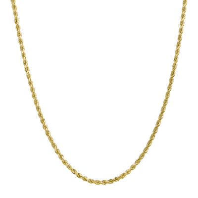 10K Gold 24 Inch Solid Rope Chain Necklace