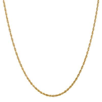 14K Gold 16 Inch Hollow Rope Chain Necklace
