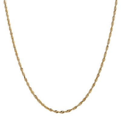 14K Gold 18 Inch Hollow Rope Chain Necklace