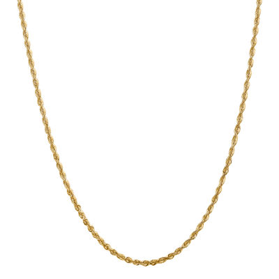 14K Gold Hollow Rope Chain Necklace
