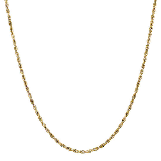 14K Gold 16 Inch Semisolid Rope Chain Necklace