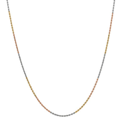 14K Tri-Color Gold 16 Inch Solid Rope Chain Necklace