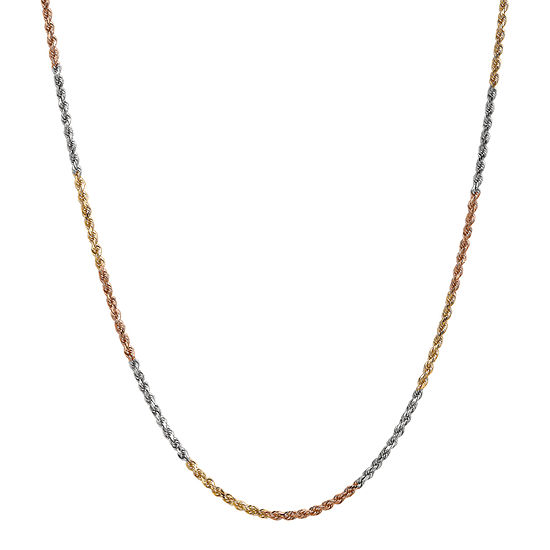 14K Tri-Color Gold Solid Rope Chain Necklace
