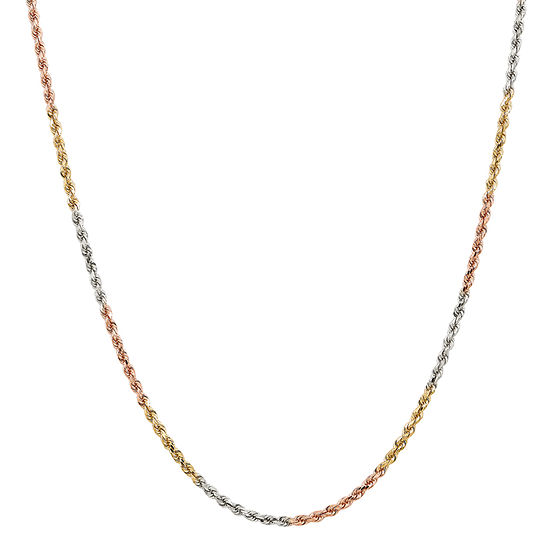 14k Tri Color Gold Solid Rope Chain Necklace