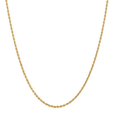14K Gold 16 Inch Solid Rope Chain Necklace