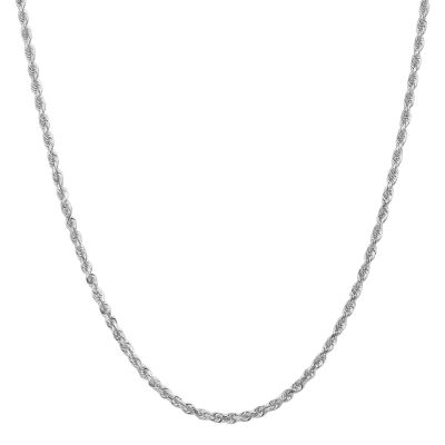 14K White Gold 30 Inch Rope Chain Necklace