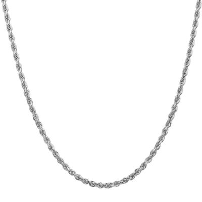 14K White Gold 24 Inch Rope Chain Necklace