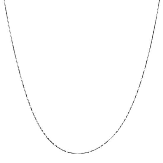 """14K White Gold 16-24"""" Solid Box Chain Necklace"""