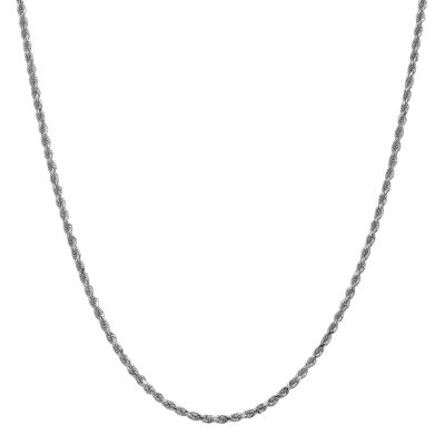 14K White Gold 22 Inch Solid Rope Chain Necklace