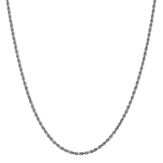 14K White Gold 24 Inch Solid Rope Chain Necklace