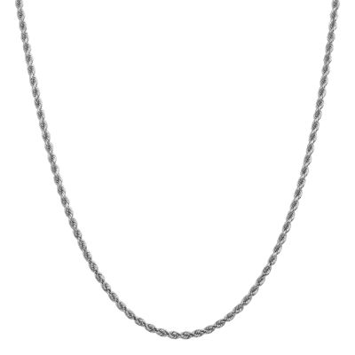 14K White Gold 16 Inch Solid Rope Chain Necklace