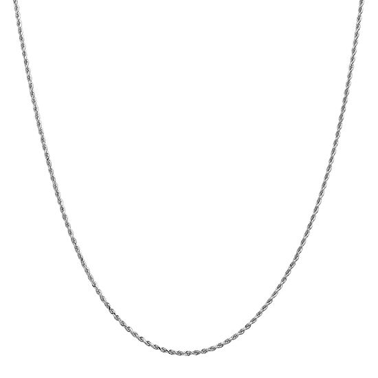 14K White Gold Solid Rope Chain Necklace