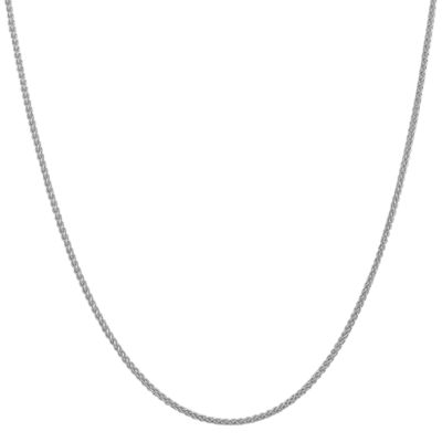 14K White Gold 24 Inch Semisolid Wheat Chain Necklace