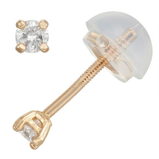 1/10 CT. T.W. Genuine White Diamond 14K Gold 2.5mm Stud Earrings