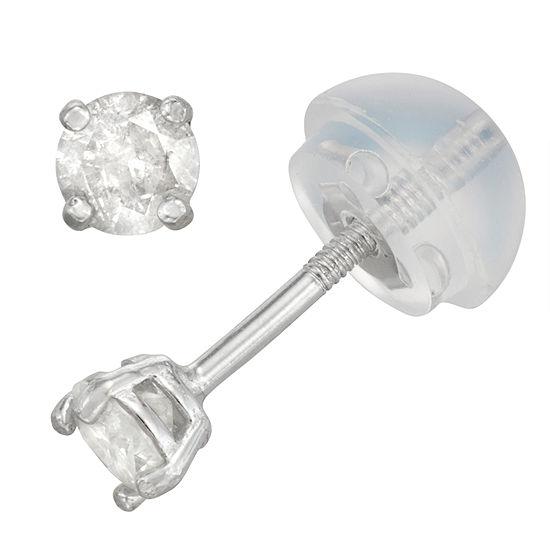 1/5 CT. T.W. Genuine White Diamond 14K White Gold 3mm Stud Earrings