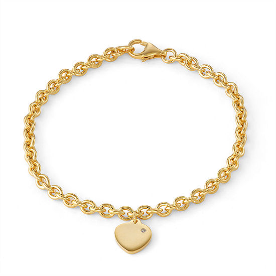 Girls Diamond Accent 14K Gold Over Silver Charm Bracelet