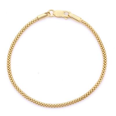 14K Gold Over Silver 7.25 Inch Solid Link Chain Bracelet