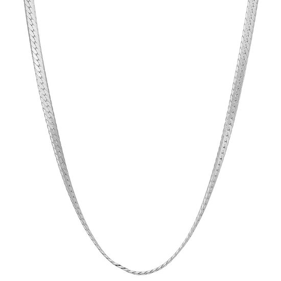 Sterling Silver Solid Herringbone Chain Necklace