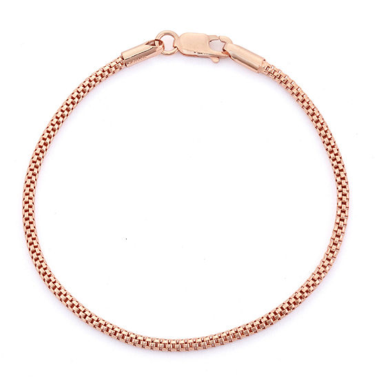 14K Rose Gold Over Silver 7.25 Inch Solid Link Chain Bracelet