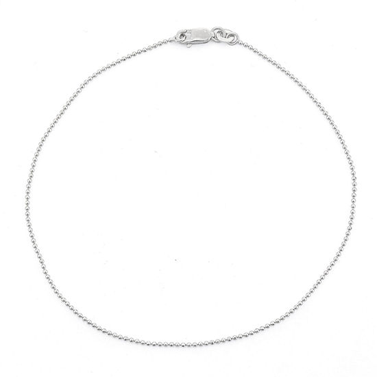 Sterling Silver 10 Inch Solid Bead Ankle Bracelet