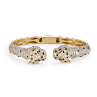 White Cubic Zirconia 14K Two Tone Gold Over Silver Panther Bangle Bracelet