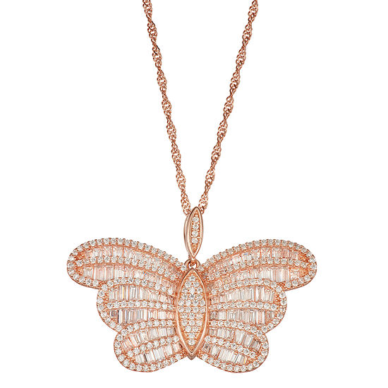 Womens White Cubic Zirconia 14K Rose Gold Over Silver Butterfly Pendant Necklace