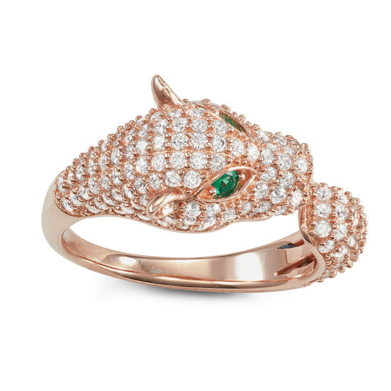 Womens 2 3/4 CT. T.W. Cubic Zirconia 14K Rose Gold Over Silver Panther Cocktail Ring