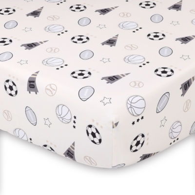The Peanut Shell Sports League Fitted Sheet Print Tossed Icons