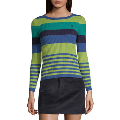 Us Polo Assn Long Sleeve Crew Neck Stripe Pullover Sweater Juniors