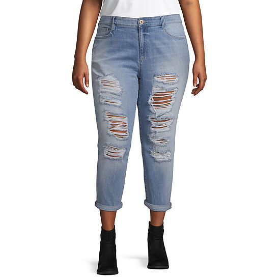 Arizona Womens High Waisted Straight Leg Jean - Juniors Plus