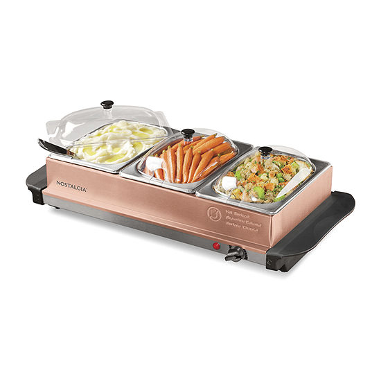HomeCraft BSC15 3-Station 1.5-Quart Buffet Server & Warming Tray