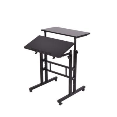 Mind Reader 2 Tier Standing Desk Roller, Black