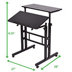 Mind Reader 2 Tier Standing Desk Roller, Black