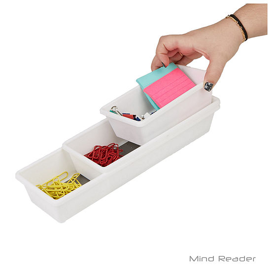 Mind Reader 3 Piece Thin Rectangle Storage Compartment Organizer Set, Gray