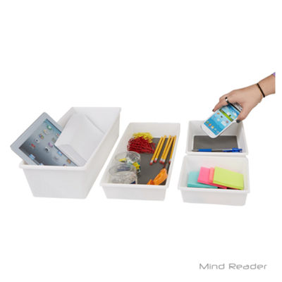 Mind Reader 4 Piece Large Rectangle Storage Compartment Organizer Set, Gray