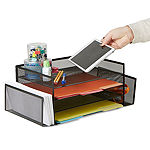 Mind Reader Desk Organizer with 2 Side Storage Compartments