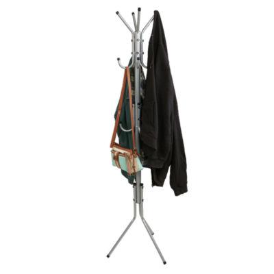 Mind Reader 11 Hook Metal Coat, Jacket, Purse, Scarf Rack, Silver