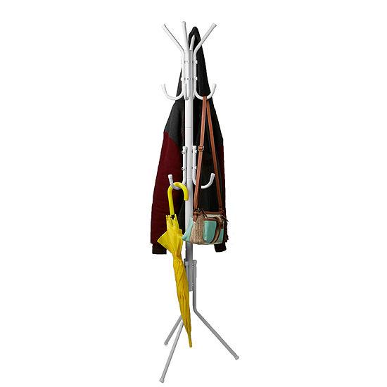 Mind Reader 11 Hook Metal Coat, Jacket, Purse, Scarf Rack - White