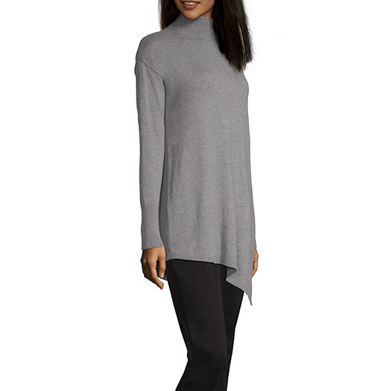 Worthington Womens Mock Neck Long Sleeve Pullover Sweater
