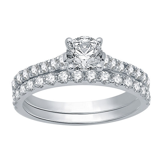 Ever Star Womens 1 1/2 CT. T.W. Lab Grown White Diamond 10K White Gold Solitaire Wedding Bridal Set