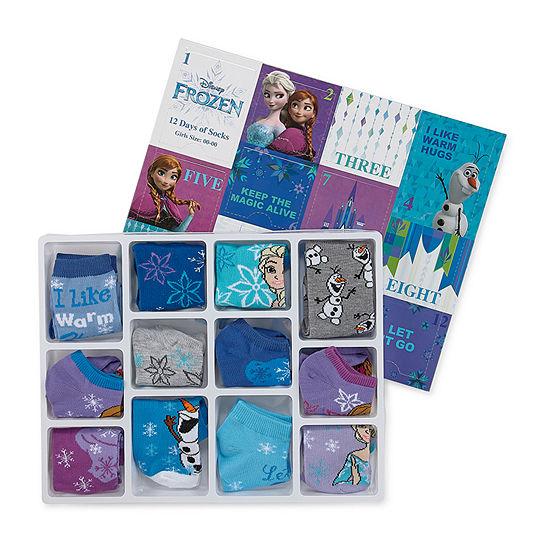 Disney Little & Big Girls 12 Pair Frozen Low Cut Socks
