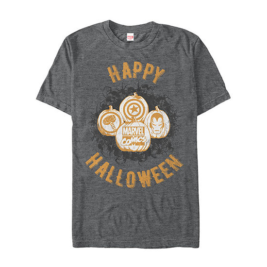 Marvel Comics Happy Halloween Icons Mens Crew Neck Short Sleeve Marvel Graphic T-Shirt