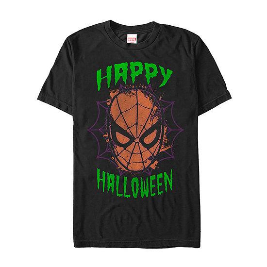 Marvel Spider-Man Mask Happy Halloween Mens Crew Neck Short Sleeve Marvel Graphic T-Shirt