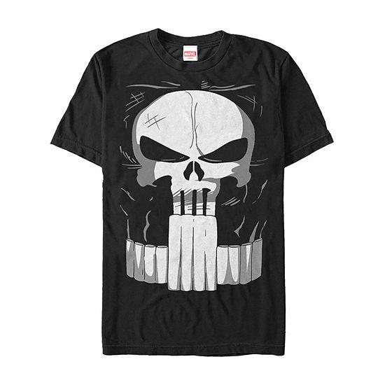 Marvel Punisher Classic Skull Halloween Costume Mens Crew Neck Short Sleeve Marvel Graphic T-Shirt
