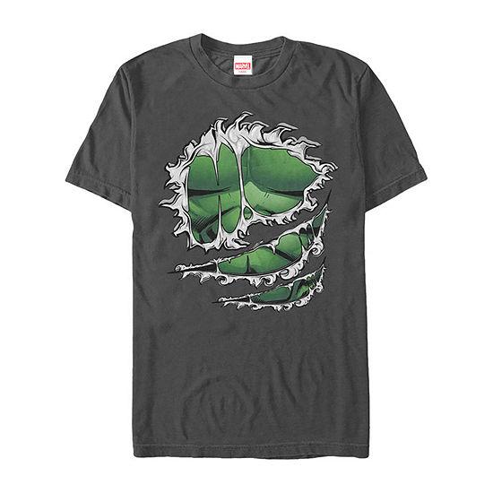 Marvel Avengers Hulk Ripped Costume Mens Crew Neck Short Sleeve Marvel Graphic T-Shirt