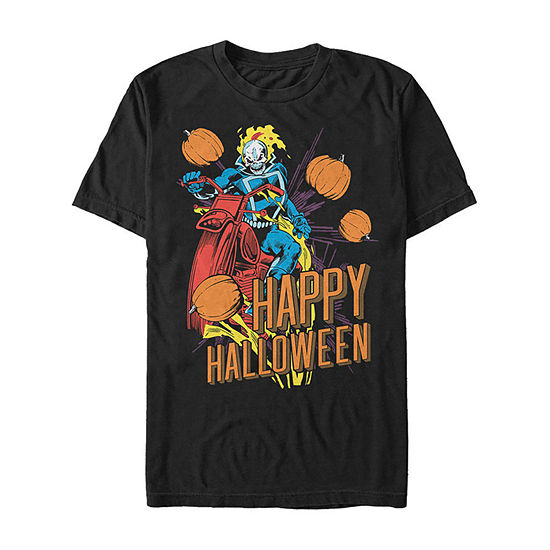 Marvel Ghost Rider Retro Happy Halloween Mens Crew Neck Short Sleeve Marvel Graphic T-Shirt