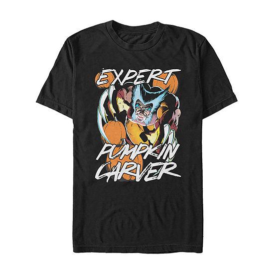 Marvel Wolverine Expert Pumpkin Carver Mens Crew Neck Short Sleeve Graphic T-Shirt