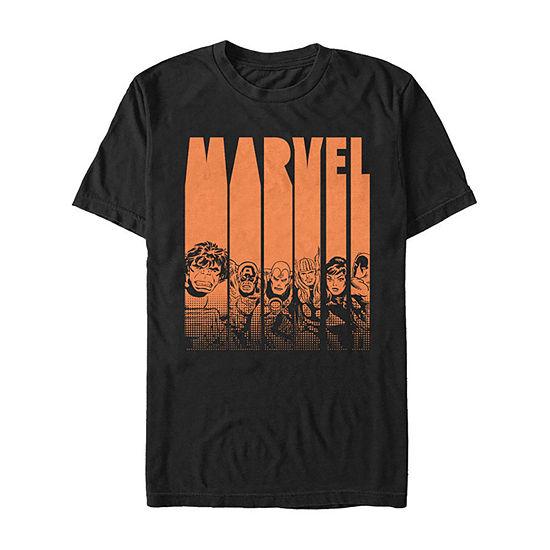 Marvel Avengers Halloween Logo Character Stencil Mens Crew Neck Short Sleeve Marvel Graphic T-Shirt