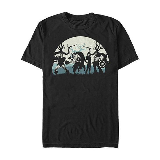 Marvel Avengers Night Silhouettes Mens Crew Neck Short Sleeve Marvel Graphic T-Shirt