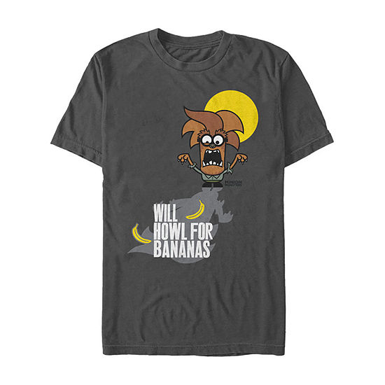 Despicable Me Howl For Bananas Minions Mens Crew Neck Short Sleeve Minons Graphic T-Shirt